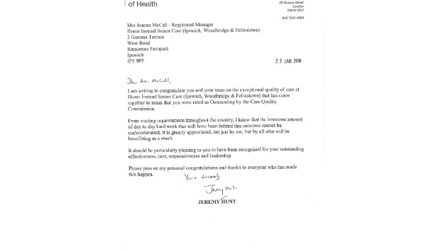 Wonderful Recognition From Jeremy Hunt MP
