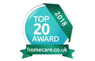 homecare.co.uk Top 20 award 2018