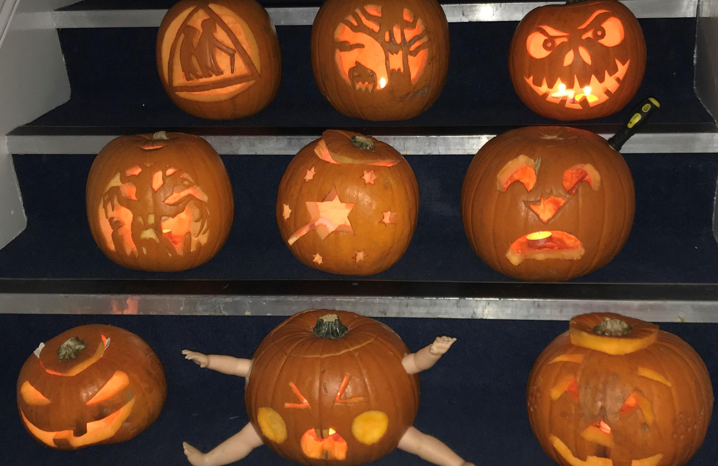 All our pumpkins on the stairs