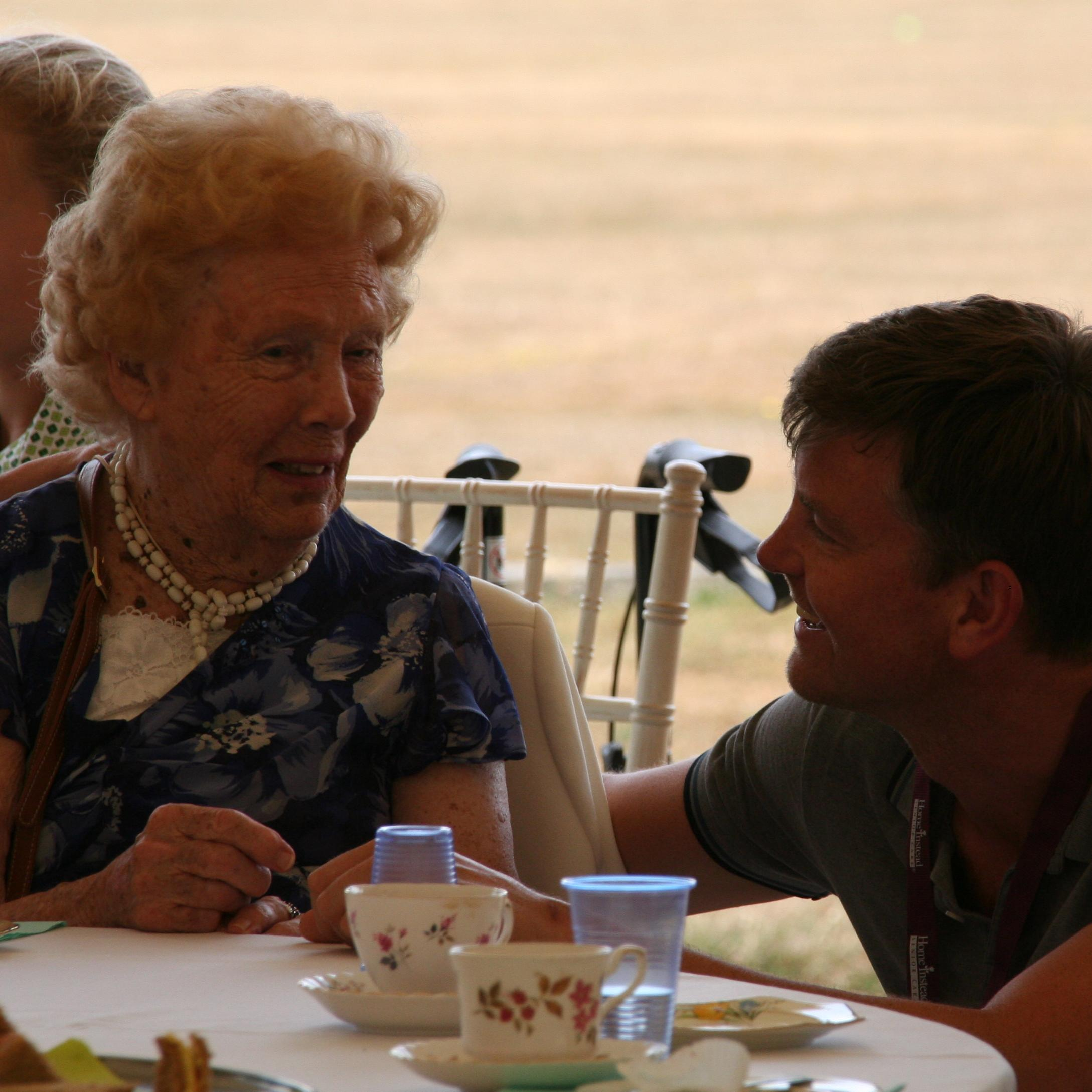 Yvonne enjoying an afternoon out at a tea party at Oakwood School