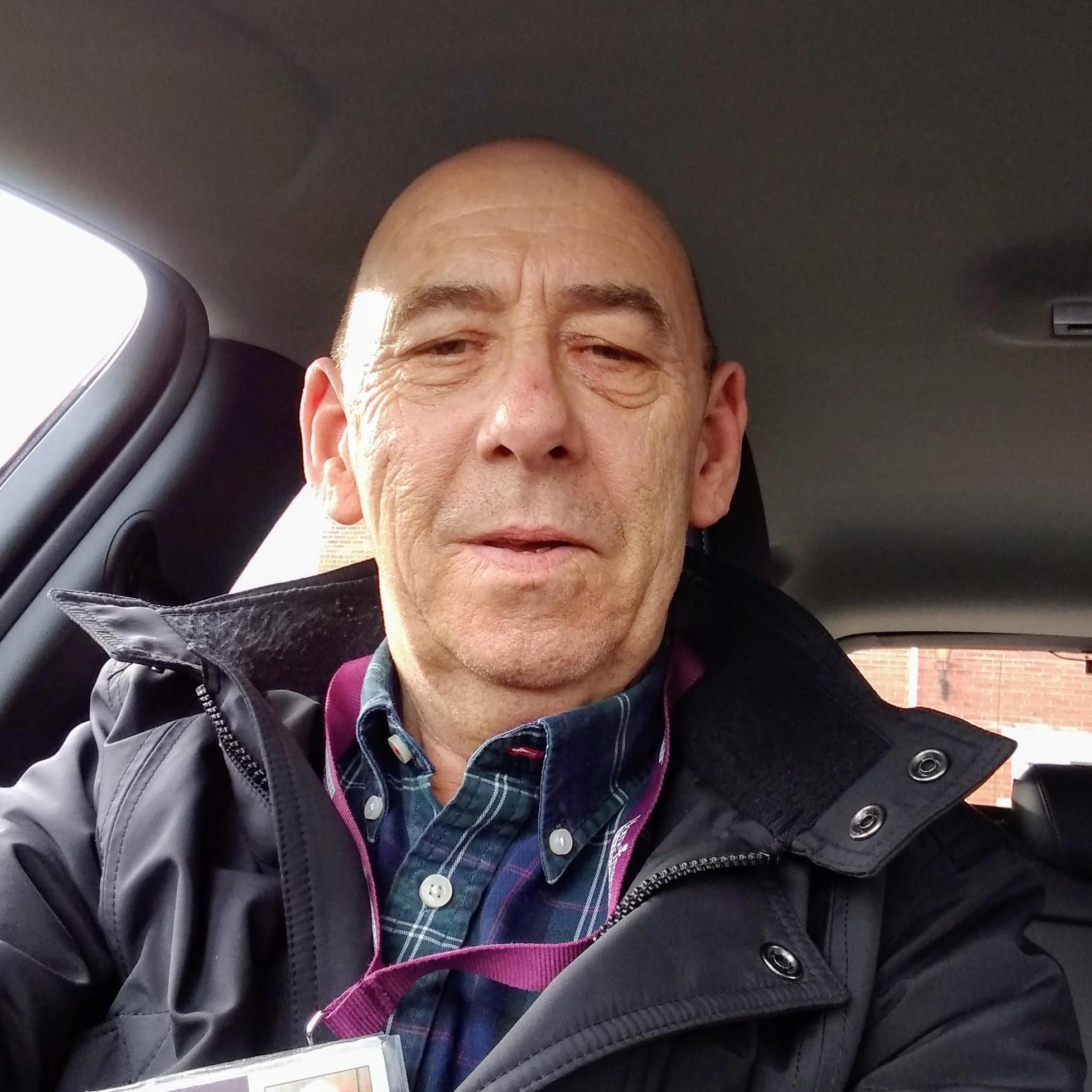 Smiley Steve in his car