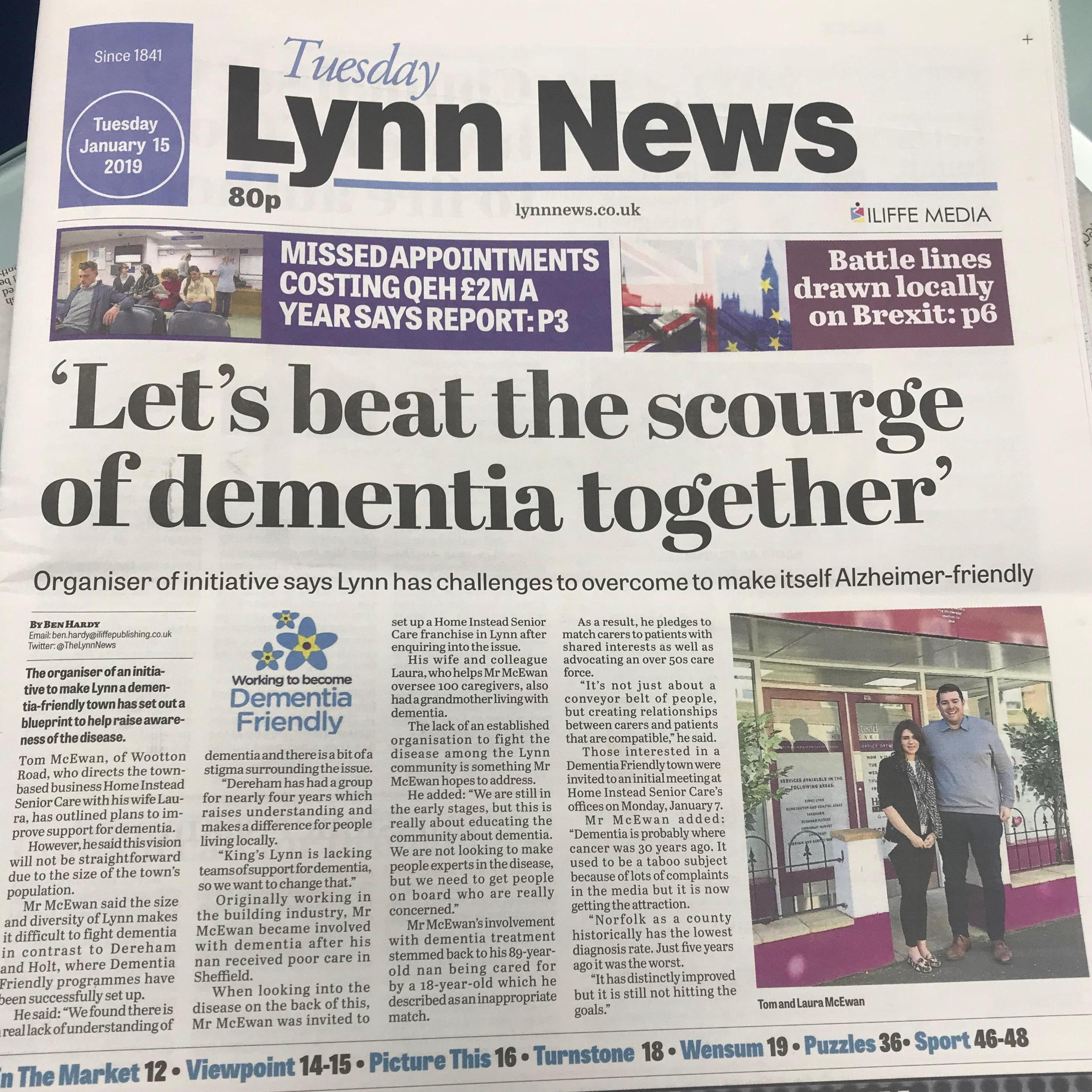 Picture of the front page of the Lynn News