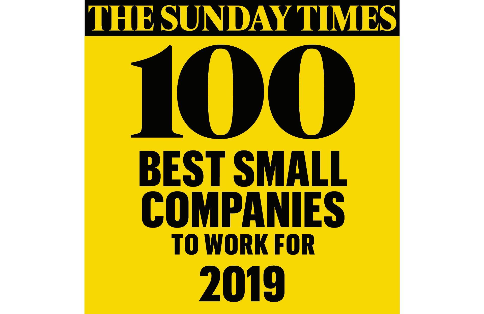 Sunday Times 100 Best Small Companies to Work For 2019 Logo