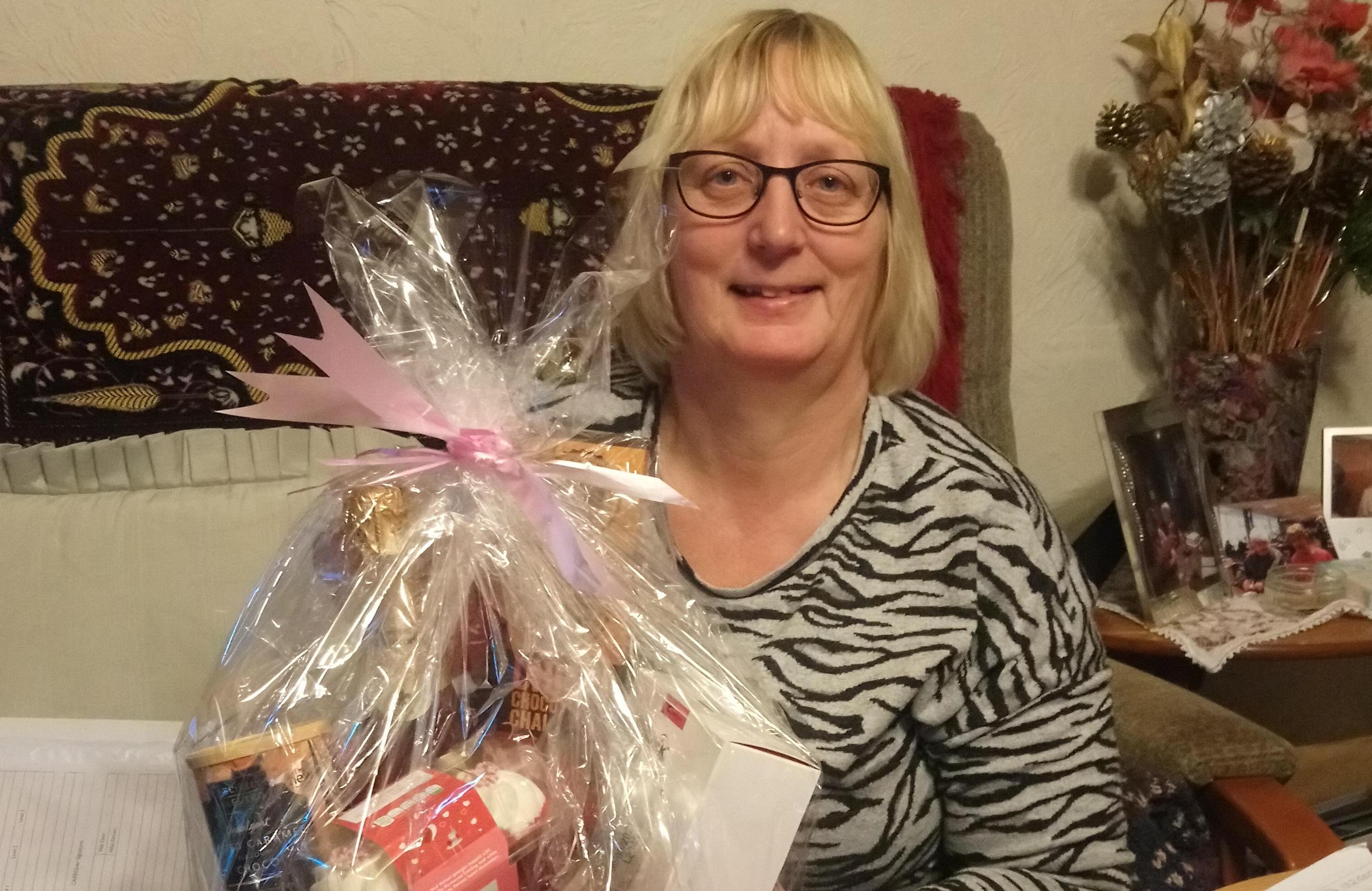 Carol with her Valentine hamper