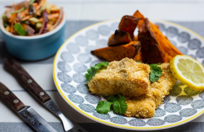 Photo of curried cod goujons with sweet potato wedges