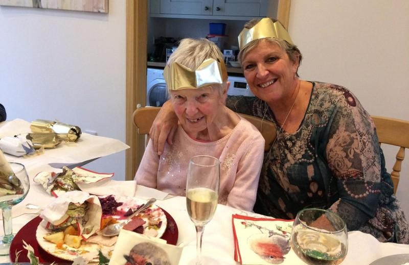 Mother and Daughter enjoying Christmas Lunch