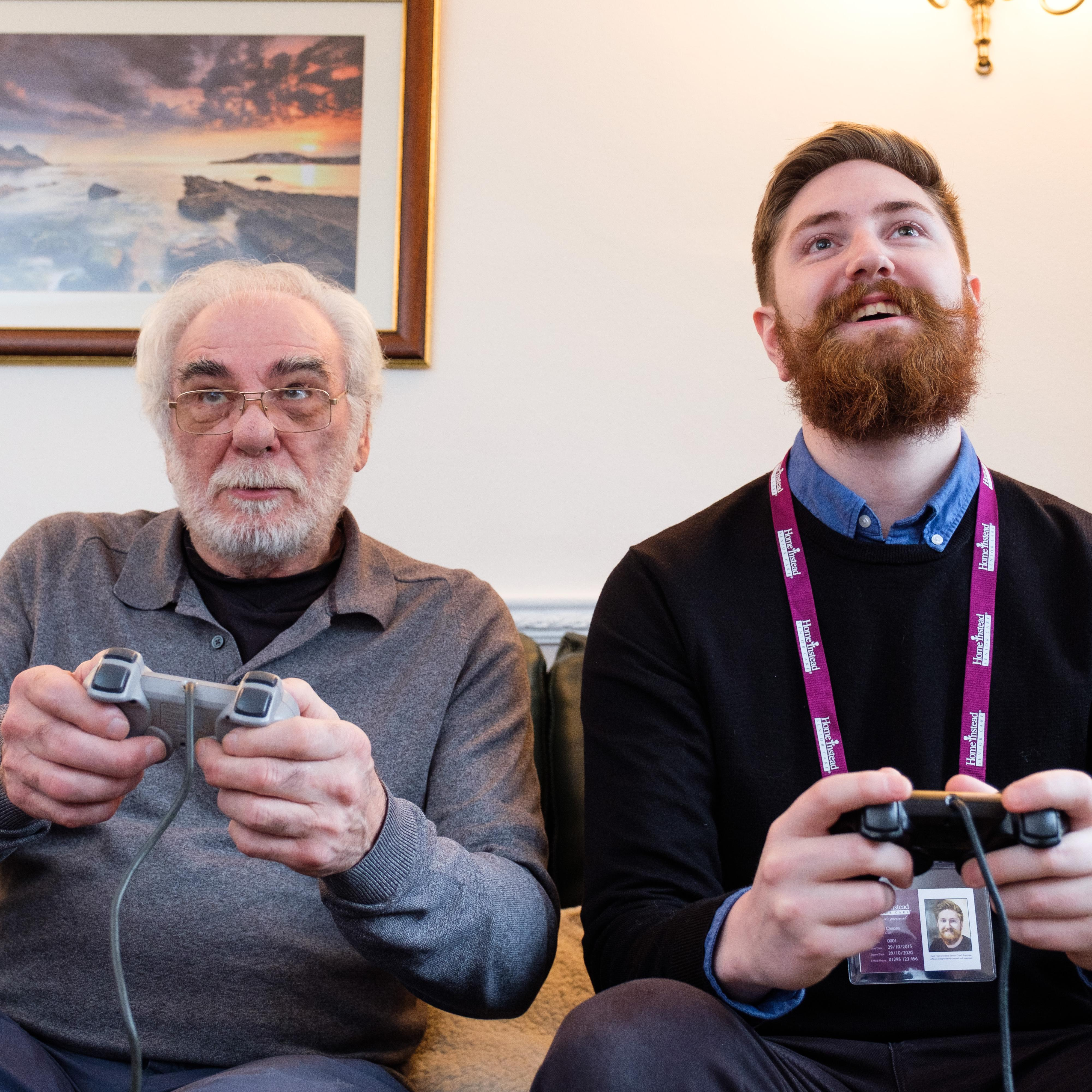 Carer and client play on xbox