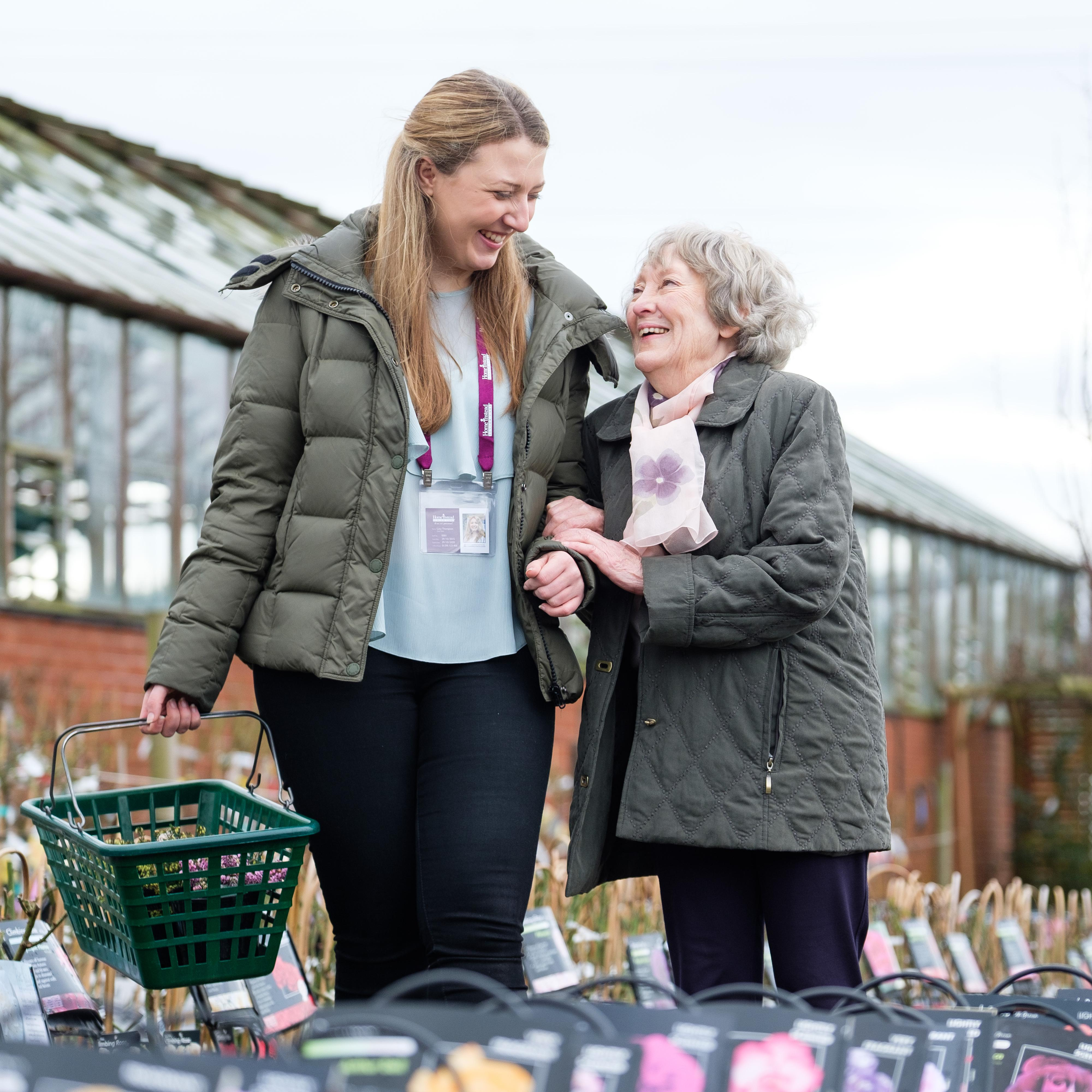 CAREGiver and Client Shopping together at the Garden centre