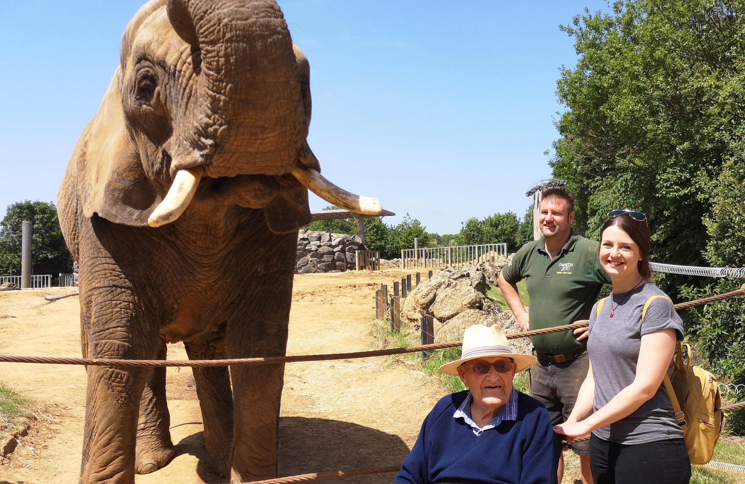 Photo of Cyril with Elephant at Colchester Zoo
