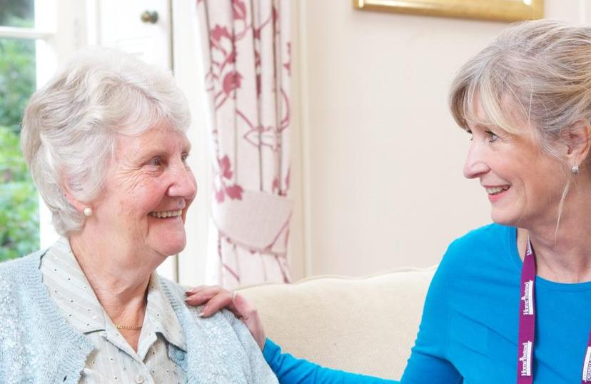 Carer with elderly client