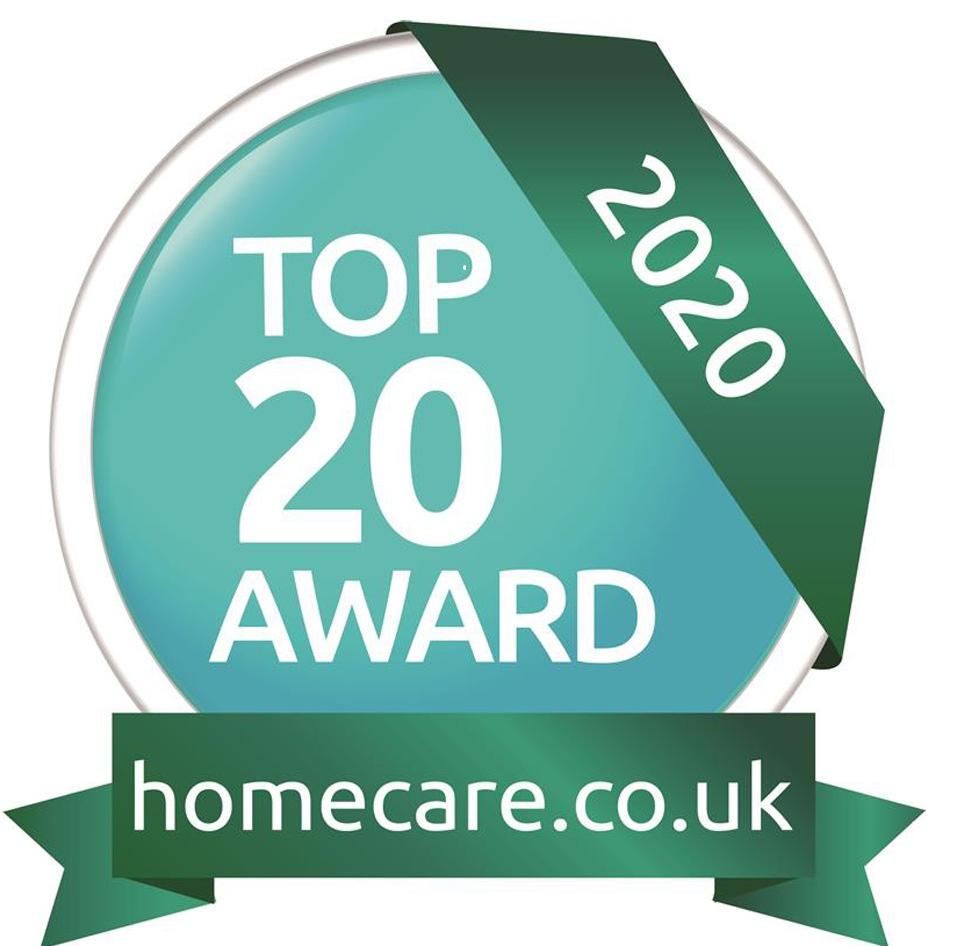 Homecare.co.uk Top 20 Award